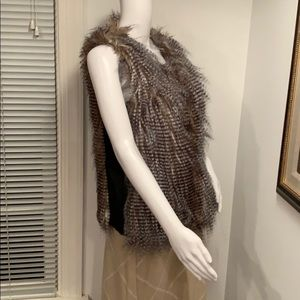 SEQUIN HEARTS FAUX FEATHERS VEST SIZE SMALL